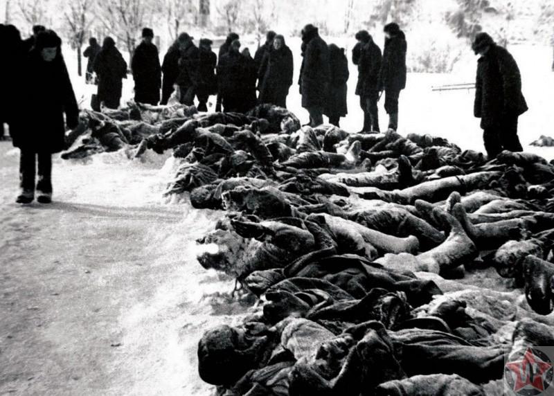 Жители освобожденной Калуги у тел убитых немцами красноармейцев