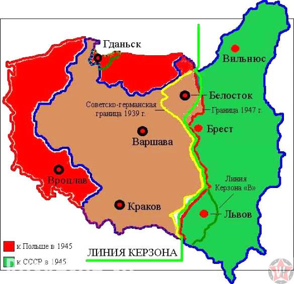 Карта Польши после Ялтинской конференции.