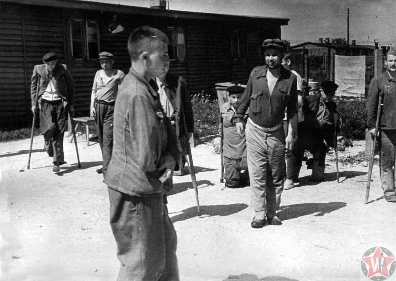 Советские военнопленные-инвалиды, освобожденные из Майданек