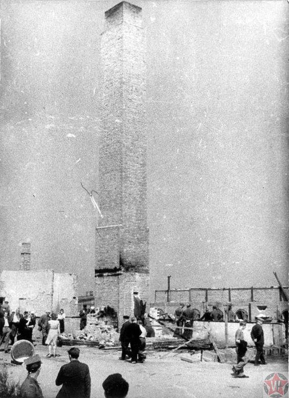 Поляки у крематория для сжигания трупов узников концлагеря Майданек