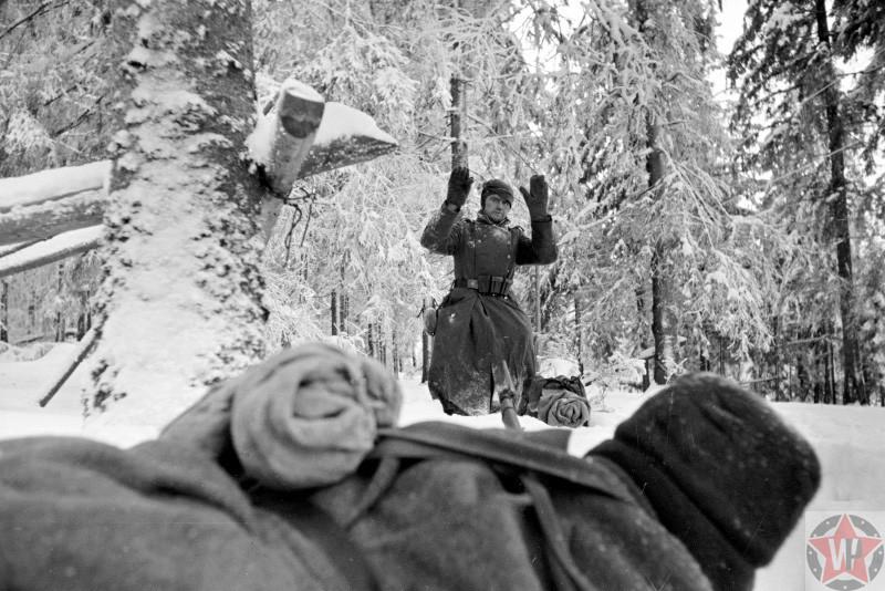 Немецкий солдат сдается в плен красноармейцу возле Солнечногорска