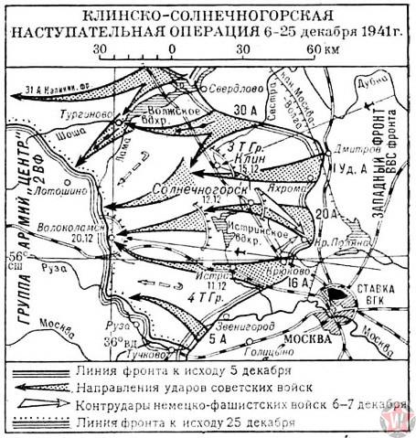 Схема Клинско-Солнечногорской наступательной операции