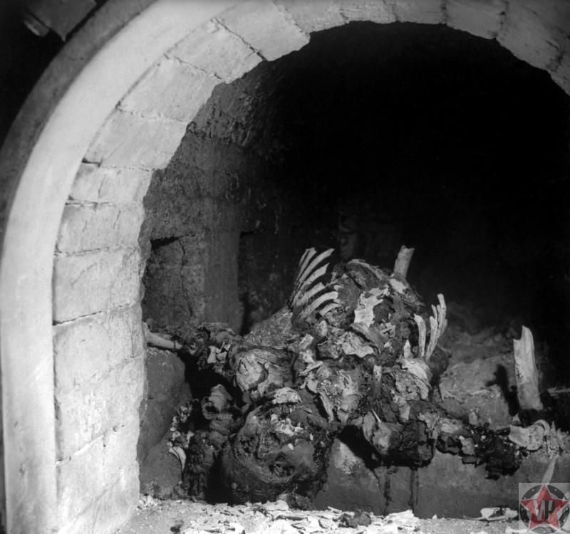 Останки узника в печи крематория концлагеря Бухенвальд